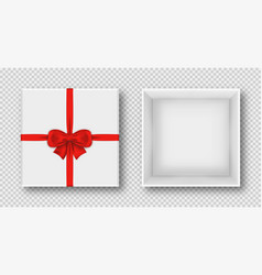 gift box with red bow top view opened and closed vector image