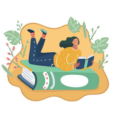 Girl lying at a green book vector