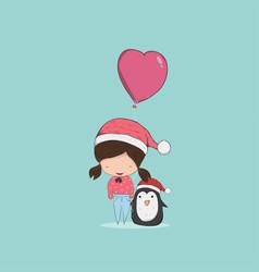 girl with heart shaped balloon christmas vector image vector image