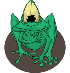 green frog with eyes vector image
