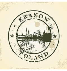 Grunge rubber stamp with Krakow Poland vector