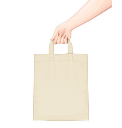 Hand hold shopping bag set vector