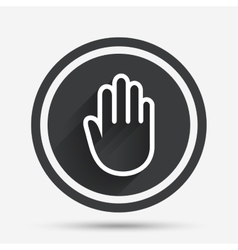 Hand sign icon No Entry or stop symbol vector image