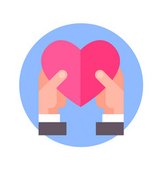 hands hols heart icon on blue round background vector image