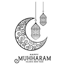 Happy muharram decorative moon and card design vector