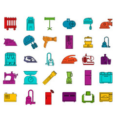 home appliances icon set color outline style vector image