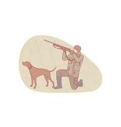 Hunter hunting dog concept vector