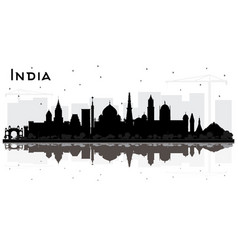 india city skyline silhouette with black vector image