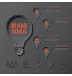 Infographics design with light bulb vector image