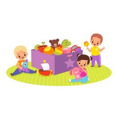 Kids play toys box happy children vector