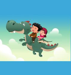 Kids riding on a cute dragon vector