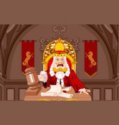 King of hearts judge with gavel vector