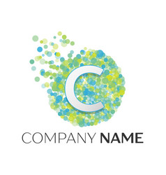 Letter c logo blue green yellow particles vector