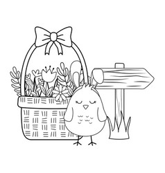 little chick with ears rabbit in floral basket vector image