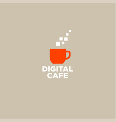Logo digital cafe communication chat icon vector