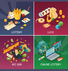 Lottery concept icons set vector