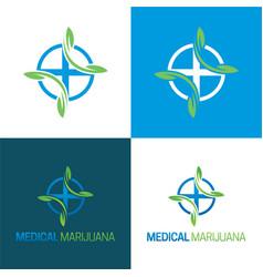 Medical marijuana logo and icon 2 vector