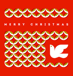 merry christmas greeting card with flying dove vector image