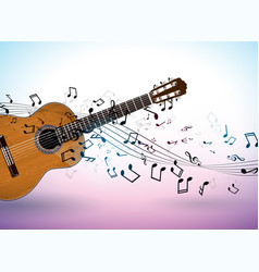Music banner design with acoustic guitar vector