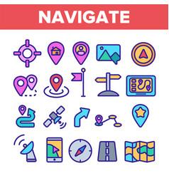 navigation linear thin icons set symbol vector image