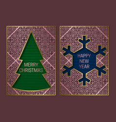 new year or merry christmas greeting card cover vector image