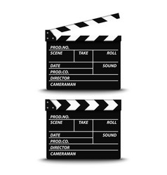 Open and closed film flap on white background vector