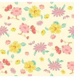 Painterly Pink Yellow Kimono Flowers vector