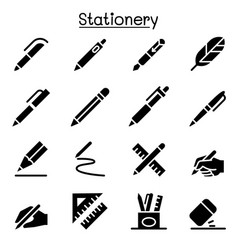 pen pencil stationery icon set graphic design vector image