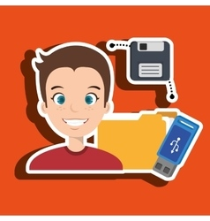 People with drive and usb isolated icon design vector