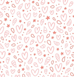 Pink doodle hearts seamless pattern vector image