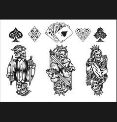 Poker elements vintage monochrome concept vector