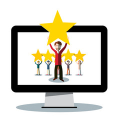 rating symbol - people holding stars on pc vector image