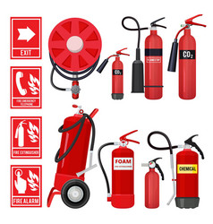 Red fire extinguisher firefighter tools for flame vector