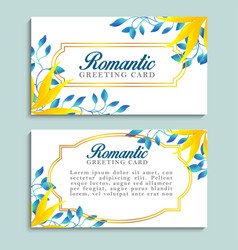 romantic greeting cards with blue and yellow vector image