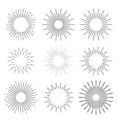Set abstract sunbursts vintage explosion a vector
