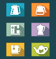 Set icons for tea and coffee vector