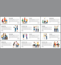 Set of office work strategy teamwork bright cards vector