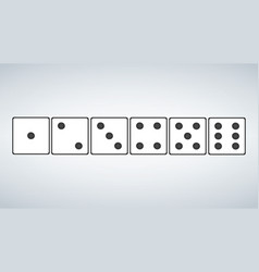 set of white dices isolated on grey background vector image