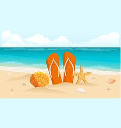 shell on beach sunburst lettering vector image