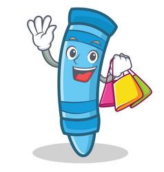 Shopping crayon character cartoon style vector