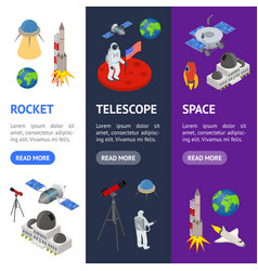 space banner vecrtical set isometric view vector image