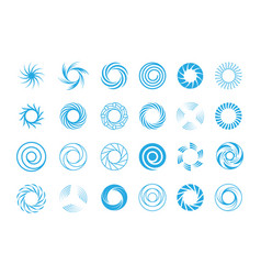 spiral circles abstract set round blue swirls in vector image