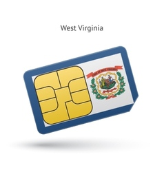State west virginia phone sim card with flag vector