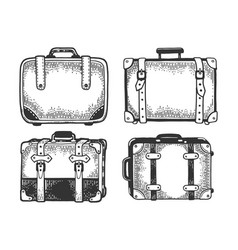Suitcase travel bag sketch engraving vector