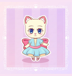 Sweet kitty little cat cute kawaii anime cartoon vector