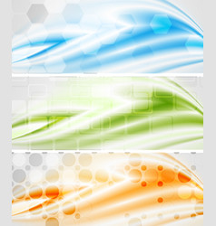 tech wavy banners vector image