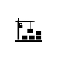 Tower crane with container flat icon vector