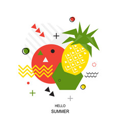 trendy style geometric pattern with pineapple vector image