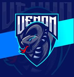 Venom viper snake mascot esport logo design vector