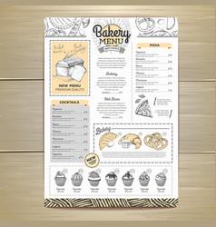 Vintage bakery menu design restaurant menu vector